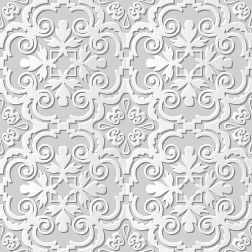 Decorative 3D paper flower pattern white vector