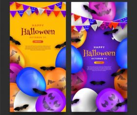 Decorative banner happy halloween vector