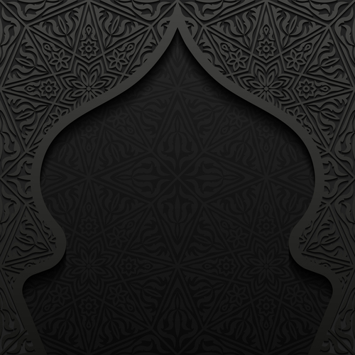 Decorative pattern and mosque silhouette vector