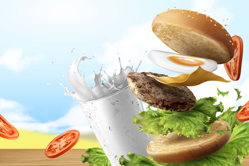 Delicious affordable breakfast burger advertisement vector