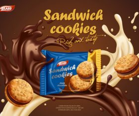 Delicious cookies in chocolate splash advertising vector