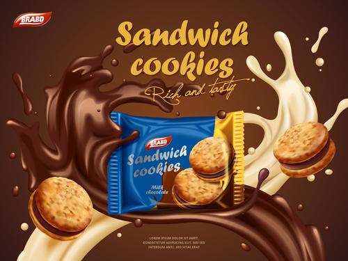 Delicious cookies in chocolate splash advertising vector