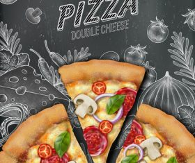 Delicious double cheese pizza advertisement vector