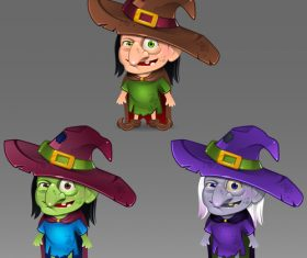 Different complexion witches vector