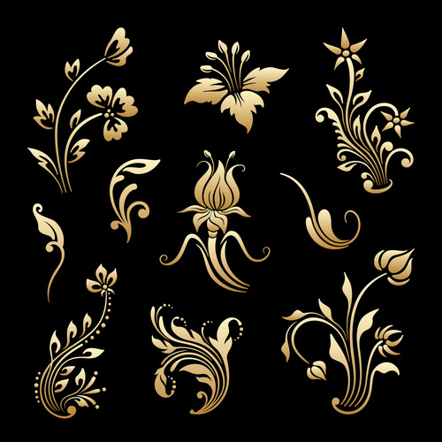 Different decorative flowers vector
