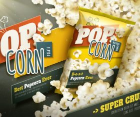 Different flavors of popcorn advertising vector