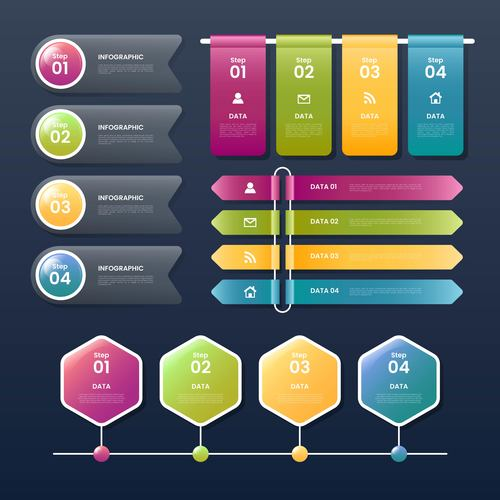 Different graphic business options vector