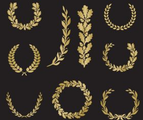 Different shape golden laurel silhouette vector