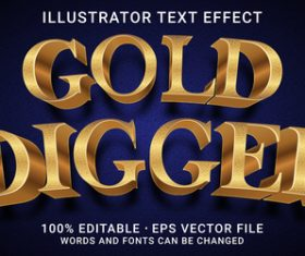 Digger editable font effect text vector