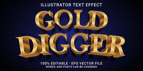 Digger editable font effect text vector