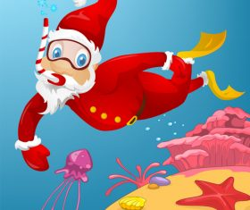 Diving christmas old man vector