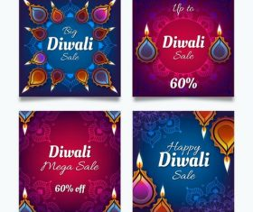 Diwali Indian traditional card vector