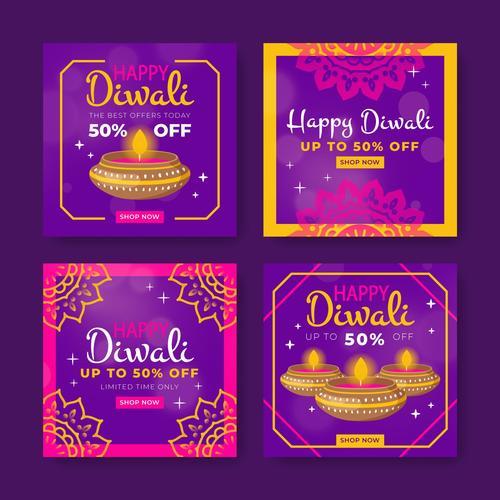 Diwali promotion card vector