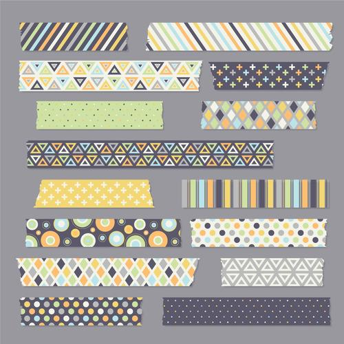 Dot and rhombus color washi tape vector