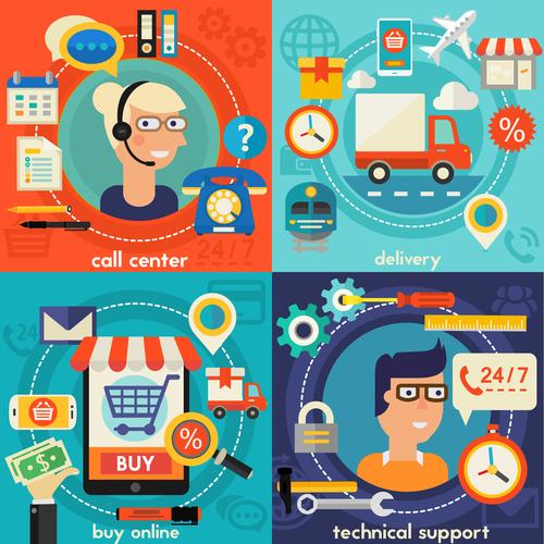 E commerce flat concept vector
