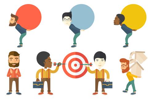 Economic goals and pressure cartoon vector