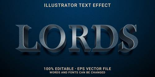 Editable font effect text lords vector