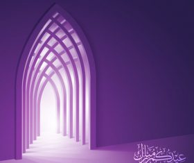 Eid Mubarak celebration greeting card background vector