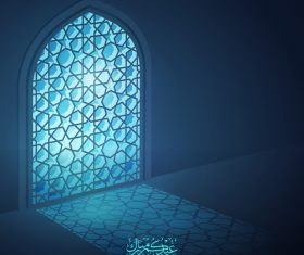 Eid Mubarak islamic design greeting background mosque window with arabic pattern vector
