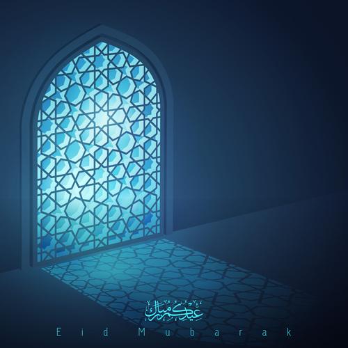Eid Mubarak islamic design greeting background mosque window with arabic pattern vector