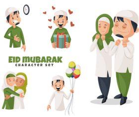 Eid mubarak cartoon vector