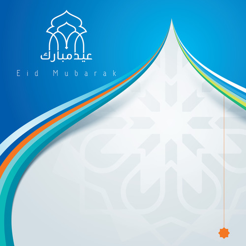 Eid mubarak colorful mosque dome for islamic greeting vector