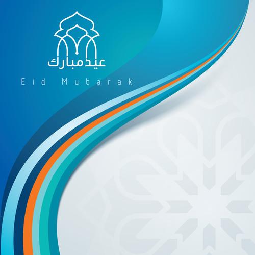 Eid mubarak colorful mosque dome vector
