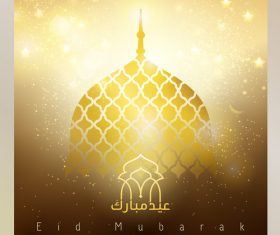 Eid mubarak gold glow mosque dome for greeting background vector
