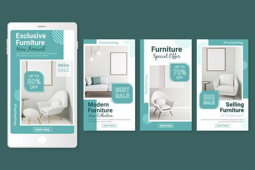 Exclusive furniture sales flyer vector