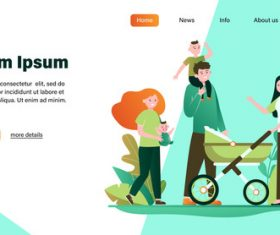 Family illustration design landing page vector
