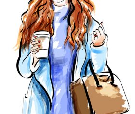 Fashion lady watercolor illustration vector