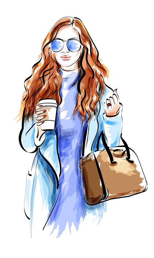 Fashion lady watercolor illustration vector