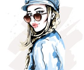 Fashion style watercolor illustration vector