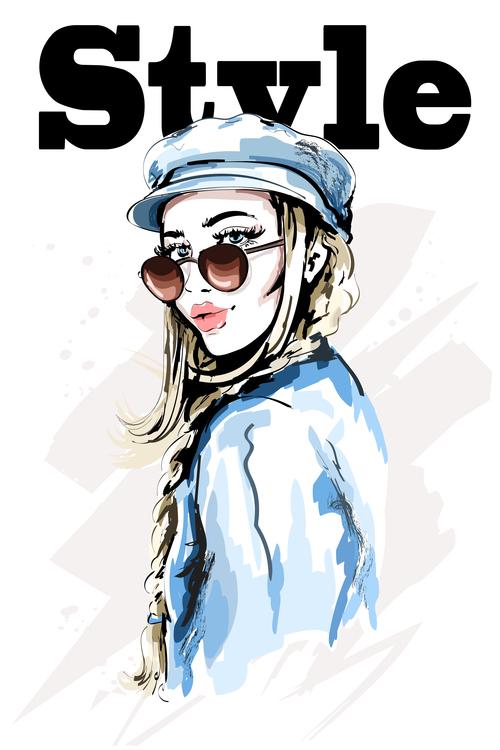 Fashion style watercolor illustration vector