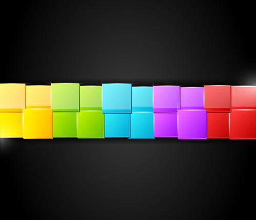 Five color squares on black background vector