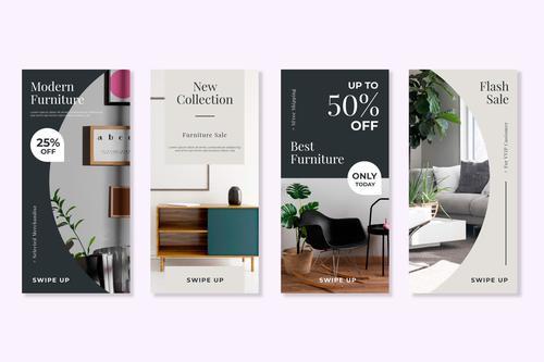 Flash sale furniture flyer vector