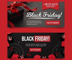 Flat design black friday banners template vector