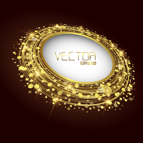 Flat gold round frames vector