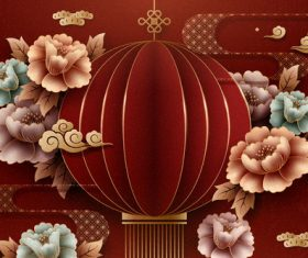 Flower and origami red lantern vector