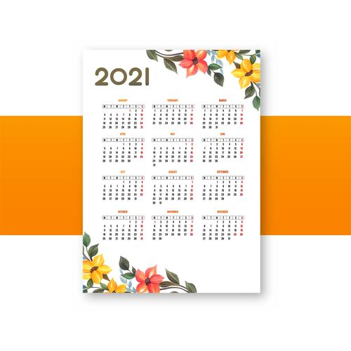 Flower style 2021 calendar vector