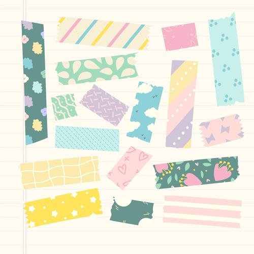 Flowers and stars color washi tape vector