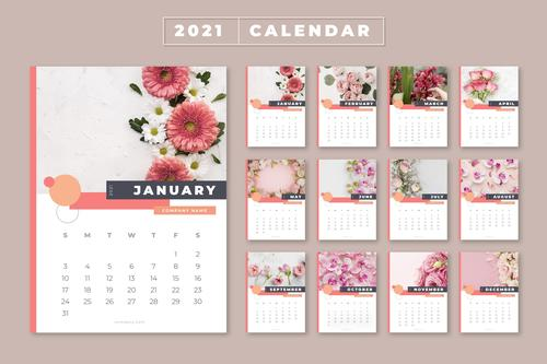 Flowers cover 2021 calendar vector