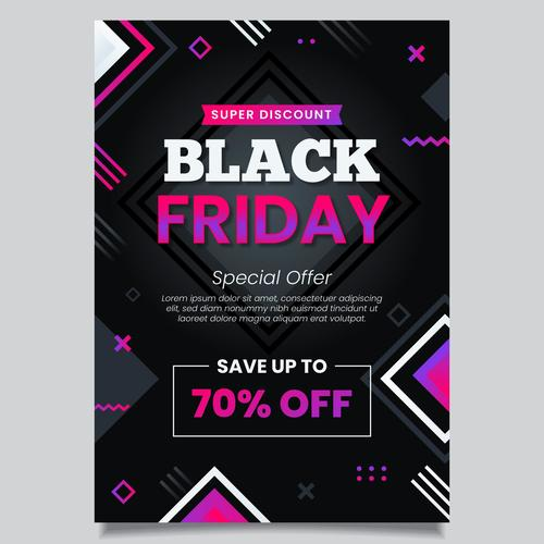 Flyer black friday vector