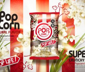 Foil packaging crispy popcorn vector