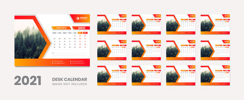 Forest background 2021 desk calendar vector