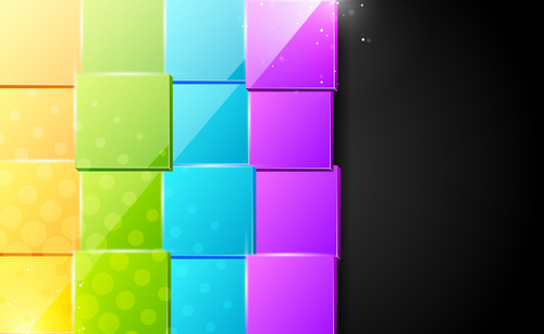 Four color squares on black background vector