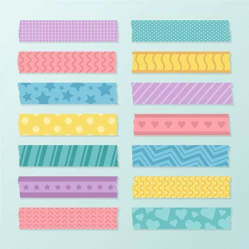 Four color washi tape vector