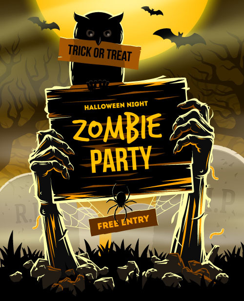 Free entry halloween party vector