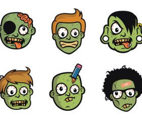 Funny Zombie Head vector