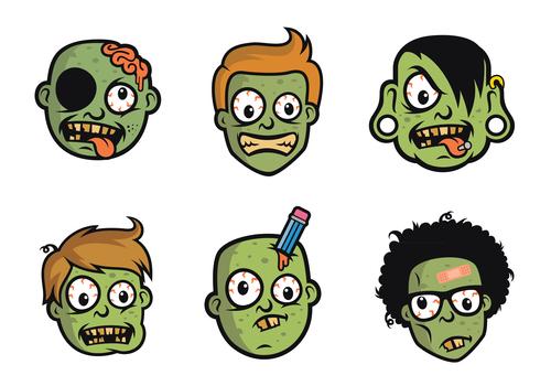 Funny Zombie Head vector